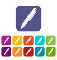 marker pen icons set flat vector image