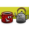 Pot calling the kettle black cartoon vector image