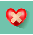 heart with plaster on green vector image