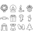 New Year icons black and white vector image vector image