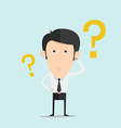 Business man scratches his head in indecision on a vector image