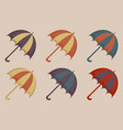 umbrellas set of icons vintage style beach vector image