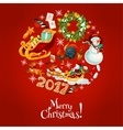 Christmas round poster for winter holidays design vector image vector image