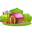 A doghouse near the wooden fence vector image vector image