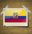Flags Ecuador at frame on a brick background vector image