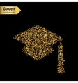Gold glitter icon of square academic cap vector image