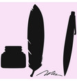 inkwell and feather and pen vector image