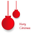two red paper christmas decoration baubles hanging vector image
