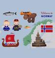 welcome to norway scandinavian symbols set vector image