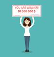 You are winner Winner man holding check vector image