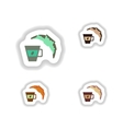 Set stylish paper stickers cup of coffee and a vector image