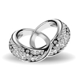 Silver wedding rings and diamonds vector image vector image