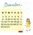 december 2014 kids calendar vector image vector image