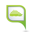 ship icon green map pointer vector image