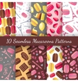 Seamless patterns with tasty macaroons Eiffel vector image