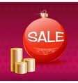 Gold coins and Christmas sale ball vector image