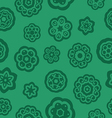 Green flowers pattern with stalk and leaves vector image