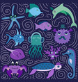 set of hand-drawn color amusing marine animals vector image