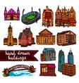 Sketch city building set color vector image
