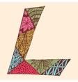 Vintage monogram L Doodle colorful alphabet vector image