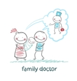 family thinks about the family doctor vector image vector image
