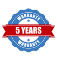Five years warranty seal - round stamp vector image