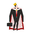 boss king in crown and royal cloak businessman vector image