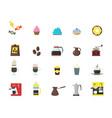 cartoon coffee shop color icons set vector image