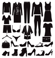 Different set of woman clothes and accessories vector image
