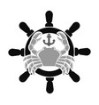 sea club emblem with crab and handwheel vector image