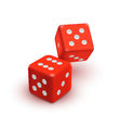 two red dices casino icon vector image