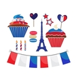 set of icons for french style party vector image vector image
