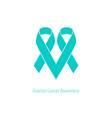 Ovarian cancer Heart symbol teal ribbon flat shape vector image