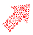 Right-top arrow of airplanes vector image