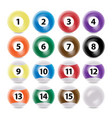 Billiard ball set realistic commonly used vector image
