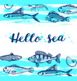 blue marine background vector image vector image