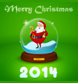 Hake with Santa Claus inside the ball vector image