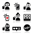Man woman taking selfie with mobile or cell phone vector image