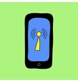 Doodle style phone with wi-fi sign vector image