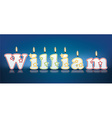 WILLIAM written with burning candles vector image