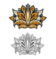 Persian paisley flower with outline petals vector image