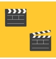 Close and open movie clapper board template icon vector image