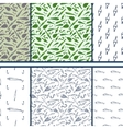 Fishing doodle - set of seamless patterns vector image