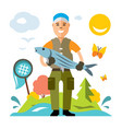 fishing fisherman with big fish flat vector image