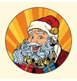 Joyful Santa Claus with gifts vector image