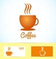 Hot coffee cup logo icon vector image