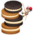Little boy climbing up stack of cookies vector image