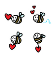 cute flying bee doodle vector image vector image