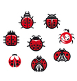 Ladybugs and ladybirds set vector image
