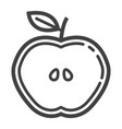 apple cut line icon food and drink half sign vector image